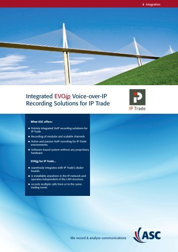 Integrated EVOip Voice-over-IP Recording Solutions ... - ASC telecom
