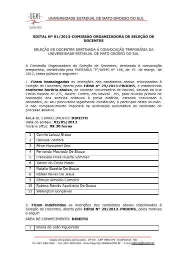 4. ED 29 - Homologação das Inscrições - Direito - Universidade ...