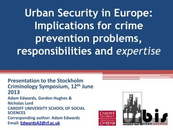 Urban security in Europe - European Crime Prevention Network