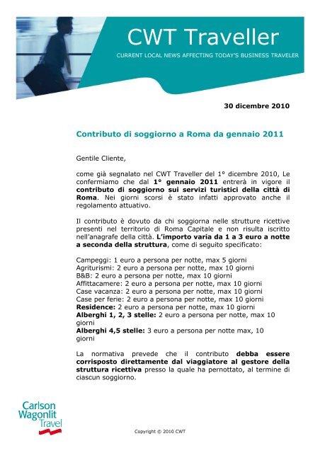 Contributo di soggiorno a Roma - Carlson Wagonlit Travel