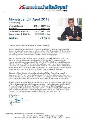 Monatsbericht April 2013 - Weiler Eberhardt Depotverwaltung AG