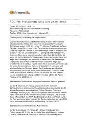 POL-FB: Pressemitteilung vom 27.01.2012: - Firmendb