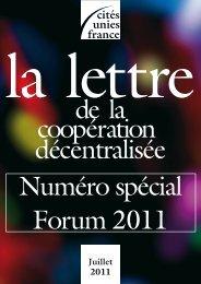 La Lettre - N° spécial Forum 2011 - Cités Unies France