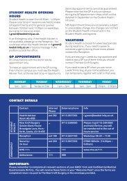 Student Health Leaflet - Leeds Trinity University