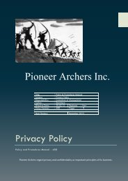 Privacy Policy Pioneer Archers Inc.