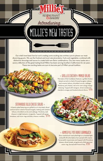 Millie S Restaurant And Bakery Menu