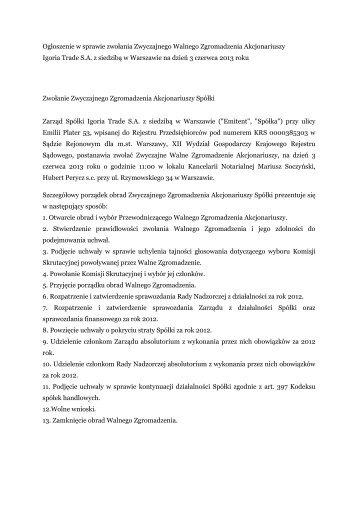 Ogłoszenie w sprawie zwołania Zwyczajnego ... - Igoria Trade