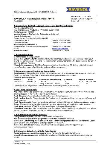 SDB 113301 RAVENOL 4-Takt Rasenmäheroel HD 30