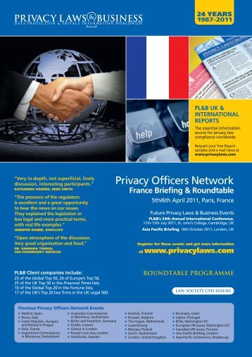 the Briefing and Roundtable Agendas - Privacy Laws & Business