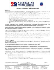 Course progress and attendance policy V2.2 - Australian Pacific ...