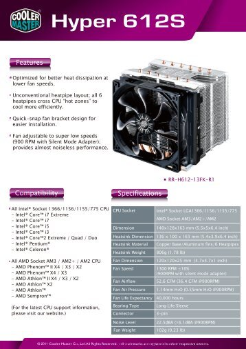 Hyper 612S Product Sheet page 1 - Cooler Master