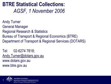 Regional research in the BTRE - National Statistical Service