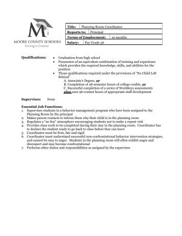 Planning Room Coordinator - Moore County School System