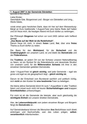 1. August 2007 in der Gemeinde Därstetten Liebe Kinder ...