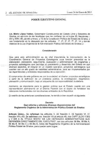 Reformas y Adiciones al Reglamento Orgánico de la Administración ...