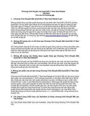 Chương trình khuyến mại AutoCAD LT New Seat Rebate Việt Nam ...