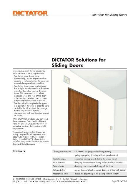 release buffer for sliding doors - Dictator on