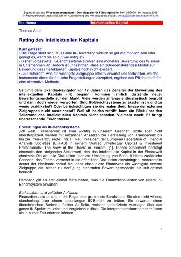 Rating des intellektuellen Kapitals - Auer Consulting & Partner