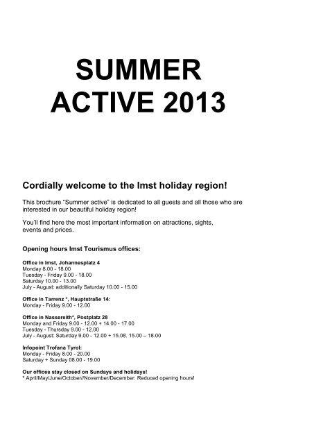 SUMMER ACTIVE 2013 - Imst Tourismus