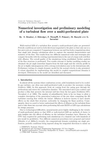 Numerical investigation and preliminary modeling of a turbulent flow ...