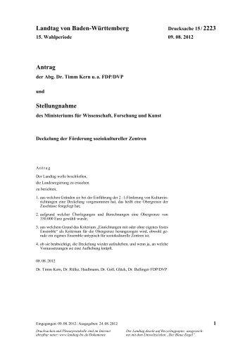 Deckelung der Förderung soziokultureller Zentren - Landtag von ...
