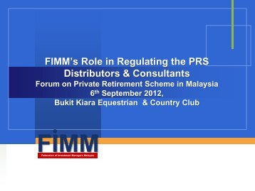 FIMM's Role in Regulating the PRS Distributors & Consultants