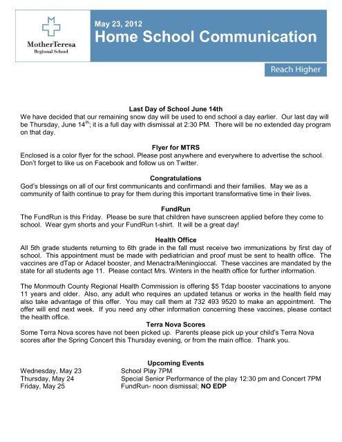 Home School Communication Mother Teresa Regional