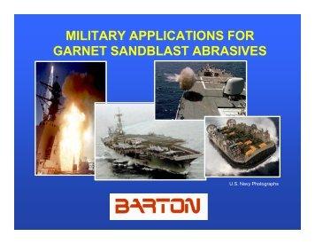 military applications for garnet sandblast abrasives - NST Center