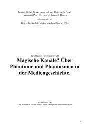 Magische Kanäle? Über Phantome und Phantasmen ... - Shift Festival