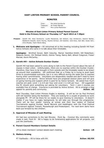 Parent Council Minutes dated 11 April 2013 - eduBuzz