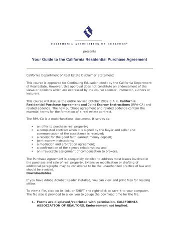 California Residential Purchase Agreement And Joint Escrow Instructions