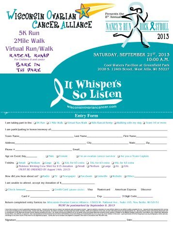 5K Run 2Mile Walk Virtual Run/Walk - Wisconsin Ovarian Cancer ...