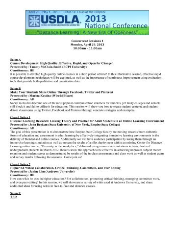 USDLA 2013 Concurrent Sessions 1 3.4.13 - United States Distance ...