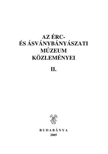 az érc- és ásványbányászati múzeum közleményei ii. - II. Rákóczi ...