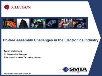 Pb-free Assembly Challenges for the Electronics Industry - SMTA