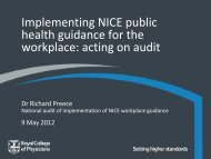 Implementing NICE public health guidance for the ... - NHS Employers