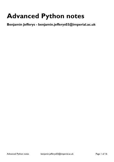 Advanced Python notes - Structural Bioinformatics Group