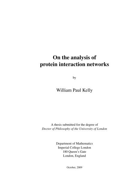 On the analysis of protein interaction networks - Structural ...
