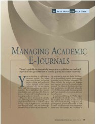 MANAGING ACADEMIC E-JOURNALS