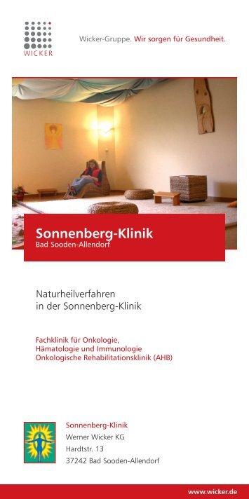 Flyer Naturheilverfahren - Sonnenberg-Klinik