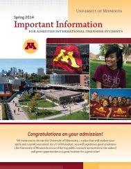 Next steps for admitted transfer students - University of Minnesota