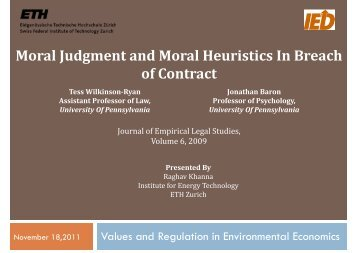 Moral Judgment and Moral Heuristics In Breach of Contract