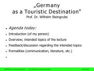 """Sustainable Tourism"" Prof. Dr. Wilhelm Steingrube"