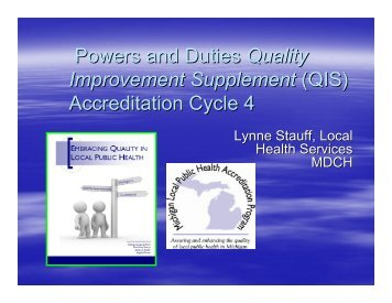 QIS - Michigan Local Public Health Accreditation Program