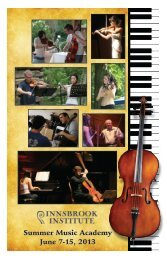 Summer Music Academy June 7-15, 2013 - Innsbrook Resort