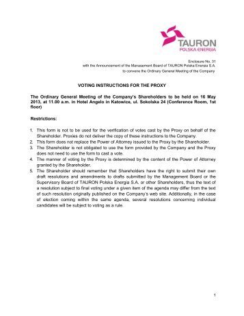 Voting instruction - tauron