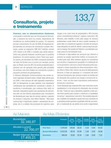 Consultoria, projeto e treinamento