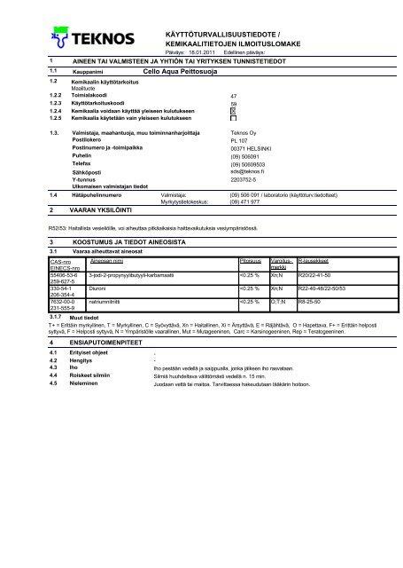 KÄYTTÅTURVALLISUUSTIEDOTE / KEMIKAALITIETOJEN ... - Cello
