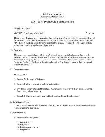 MAT 115: Precalculus Mathematics - Faculty Home Pages ...