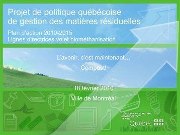 Présentation technique de la nouvelle Politique québécoise de ...